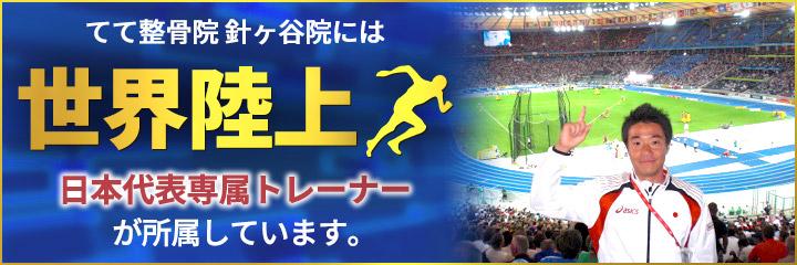 宇都宮市のてて整骨院針ヶ谷院には世界陸上日本代表トレーナーが所属しています。